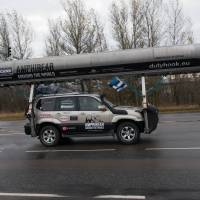 Global odyssey: Mait Nilson starts his trip around the world in a rebuilt Toyota Land Cruiser, dubbed 'Amphibear,' in Tallinn on Saturday | AFP-JIJI