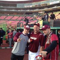 A sense of community: Monkey Majik members Blaise Plant (left) and brother Maynard Plant (right), joined by third baseman casey McGehee, are long-time supporters of the Tohoku Rakuten Golden Eagles. | JASON COSKREY