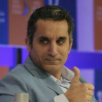Mock star: Egyptian satirist and television host Bassem Youssef speaks during the annual Arab Media Forum in Dubai in May | AFP-JIJI