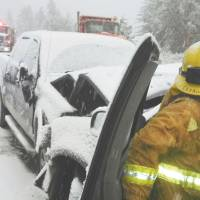 To the rescue: San Bernardino County firemen help after a traffic accident in the San Bernardino Mountains in California during a snowstorm. | AP