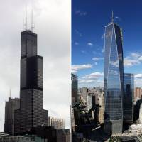 Towering rivals: Chicago's Willis Tower, formerly known as the Sears Tower (left), was knocked off its pedestal Tuesday when New York's One World Trade Center was named the tallest building in the U.S. by an international panel of architects | AP