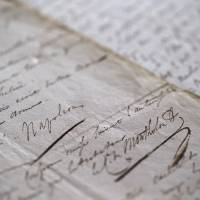 High bid: This picture taken Sept. 20 in Paris shows the signature of Napoleon Bonaparte on a 1821 copy of his will and testament written at the request of the former emperor, who feared the disappearance of the original. The copy was auctioned Thursday for €357,000 ($480,000) in the French capital | AFP-JIJI