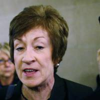 GOP's gay-rights shift: Maine Sen. Susan Collins, a Republican, speaks to reporters on Oct. 12 in Washington. Proponents of a bill that would prohibit employers from discriminating against workers on the basis of sexual orientation or gender identity are optimistic about the measure's prospects ahead of a crucial Senate vote.  | AP