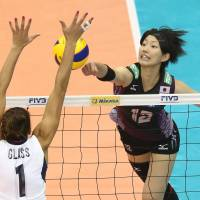 Banner effort: Yuki Ishii (12) was Japan's top scorer with 12 points against the United States in the FIVB Women's Grand Champions Cup match on Wednesday in Nagoya. The U.S. defeated Japan 25-19, 25-19, 19-25, 25-21 | FIVB