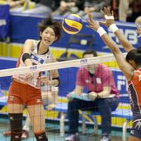 On target: Japan's Yuki Ishii follows through on a spike against the Dominican Republic on Saturday in their FIVB Women's Grand Champions Cup match at Tokyo Metropolitan Gymnasium. Japan topped the Dominicans in three sets | KYODO
