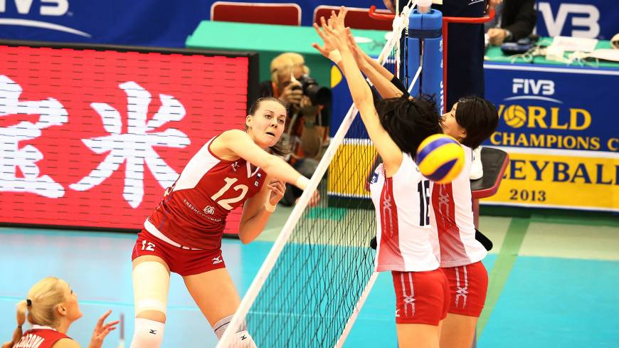 Attack mode: Russia's Alexandra Pasynkova spikes the ball against Japan during Tuesday's match in Nagoya