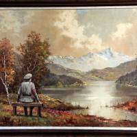 The banality of venality: The secretive British graffiti artist Banksy bought this pastoral painting for $50, added a Nazi soldier and donated it back to the Housing Works thrift shop where he had purchased it in New York. The store auctioned it Thursday for $615,000. | AP