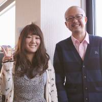 Survivor: Yuta Suzuki poses for a photo with Yura Tsutsumi, 10 years after he was first diagnosed with leukemia. | JUN HONGO
