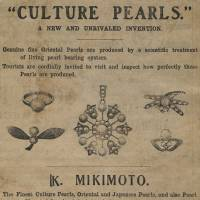 A 1906 Mikomoto advertisement from The Japan Times that invites tourists to 'inspect how perfectly those pearls are produced.'