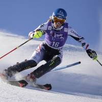 Master at work: Austria's Marlies Schild competes in a World Cup slalom in Courchevel, France, on Tuesday. Schild won in a time of 1 minute, 45.17 seconds. | AP