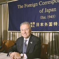 No limit: National team manager Alberto Zaccheroni speaks at the Foreign Correspondents' Club of Japan on Monday. | AP
