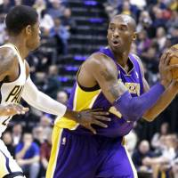 Wear and tear: Lakers star Kobe Bryant is expected to be sidelined for six weeks due to a small fracture in his left knee. | AP