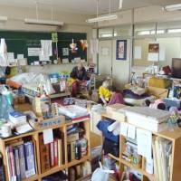 Homeroom: This March 2012 photograph shows evacuees from Futaba, in Fukushima Prefecture, living in a classroom at what used to be Kisai High School in Kazo, Saitama Prefecture. The building has served as their shelter since the March 2011 Fukushima nuclear disaster. | KYODO