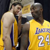 Pau Gasol (left) and Kobe Bryant figure to be reunited on the court  Sunday.  | AP