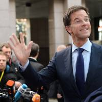 On a hi: Dutch Prime Minister Mark Rutte arrives in Brussels on Thursday to take part in an EU summit focused on defense policy and economic union. | AFP-JIJI