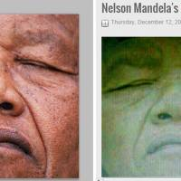 Dishonoring his memory: A shot of Nelson Mandela taken by AFP photographer Trevor Samson on July 2, 1991, in Durban during an ANC congress (left) was posted anonymously on social networks as purportedly taken after Mandela's death Dec. 5 in Johannesburg. | AFP-JIJI