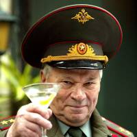 Blow your head off: Lt. Gen. Mikhail Kalashnikov launches his Kalashnikov vodka in London in September 2004. | REUTERS/KYODO