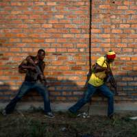 Illegal authority: Christian militia members take part in a drill in the suburbs of Bangui on Tuesday. | AFP-JIJI
