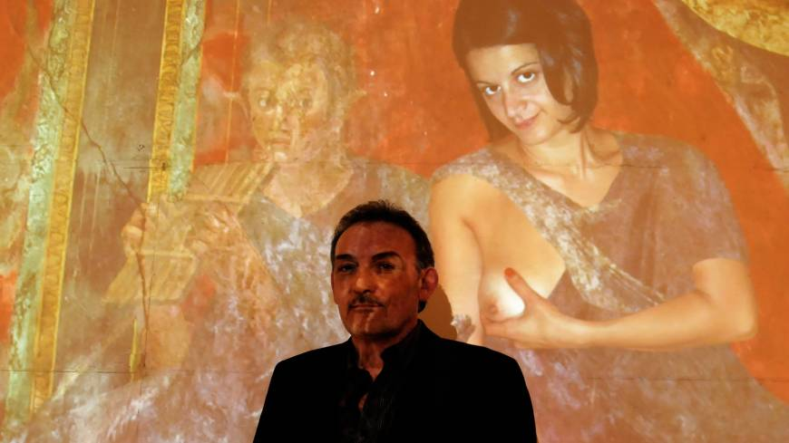 Politically incorrect: Antonio Manfredi, director of the Casoria Contemporary Art Museum, gives a slide show Thursday.
