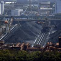 Raw steel: Raw materials sit in a JFE Steel Corp. plant complex in Chiba on April 22. | BLOOMBERG