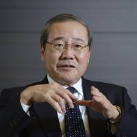 Talking bonds: Koichi Miyata, president of Sumitomo Mitsui Financial Group Inc., is interviewed Friday in Tokyo. | BLOOMBERG
