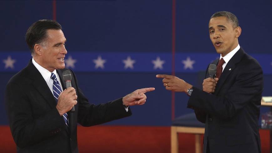 No, you're president: Republican presidential nominee Mitt Romney and President Barack Obama spar during the second presidential debate at Hofstra University in Hempstead, New York, on Oct. 16, 2012.