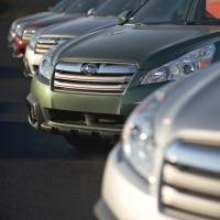 Will they play here?: Subaru Outbacks are displayed at a dealership in East Peoria, Illinois, on Saturday. | BLOOMBERG
