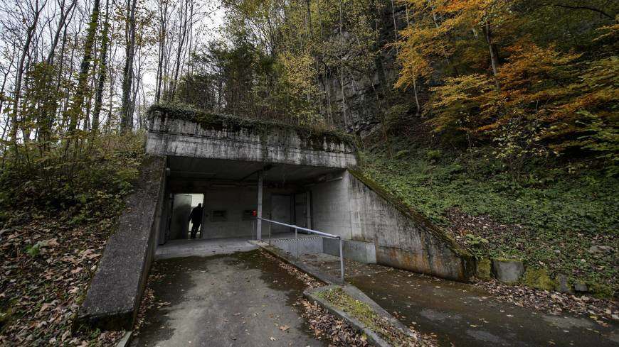 Bunker mentality: The entrance of the Deltalis Swiss Mountain Data Center is seen near Attinghausen, Switzerland.