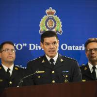 In hot water: Chief Superintendent Larry Tremblay, director general of the RCMP Federal Policing Criminal Operations of the RCMP, speaks during a news conference in Toronto on Sunday. | AP