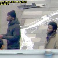 Found guilty: This CCTV photo issued by the Metropolitan Police on Thursday shows Michael Adebolajo and Michael Adebowale speaking to a member of the public near the Woolwich Barracks in London on May 22 after killing Lee Rigby. | AP