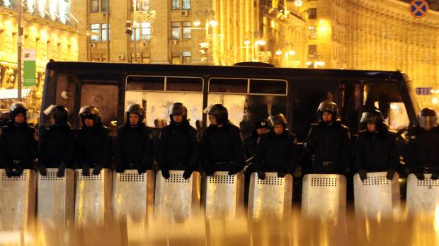 Riot police push into protest camp in Ukrainian capital