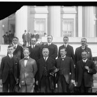 First governors: The original district governors of the Federal Reserve System are pictured here. Front row, from left: E.R. Francher, Cleveland, District 4; George J. Seay, Richmond, District 5; Joseph A. McCord, Atlanta, District 6; Theodore Wold, Minneapolis, District 9; Charles M. Sawyer, Topeka, District 10. Back row: Charles J. Rhoads, Philadelphia, District 3; Oscar Wells, Houston, District 11; Alfred L. Aiken, Boston, District 1; Benjamin Strong, New York, District 2; Archibald Kains, San Francisco, District 12. | THE WASHINGTON POST