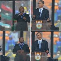 Sign of the times: U.S. President Barack Obama delivers a speech next to bogus sign language interpreter Thamsanqa Jantjie during a memorial service for late South African President Nelson Mandela at Soccer City Stadium in Johannesburg on Tuesday. | AFP-JIJI