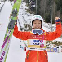 Reason to smile: Sara Takanashi leads the World Cup circuit with a perfect 300 points. | KYODO