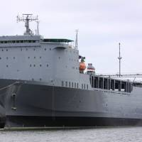 Floating laboratory: The cargo ship MV Cape Ray, owned by the U.S. Navy, is being outfitted with special equipment to destroy some of Syria's chemical arsenal. | AFP-JIJI