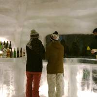 On the rocks: Visitors to Furano Kan Kan Mura order drinks at the Snow Dome.