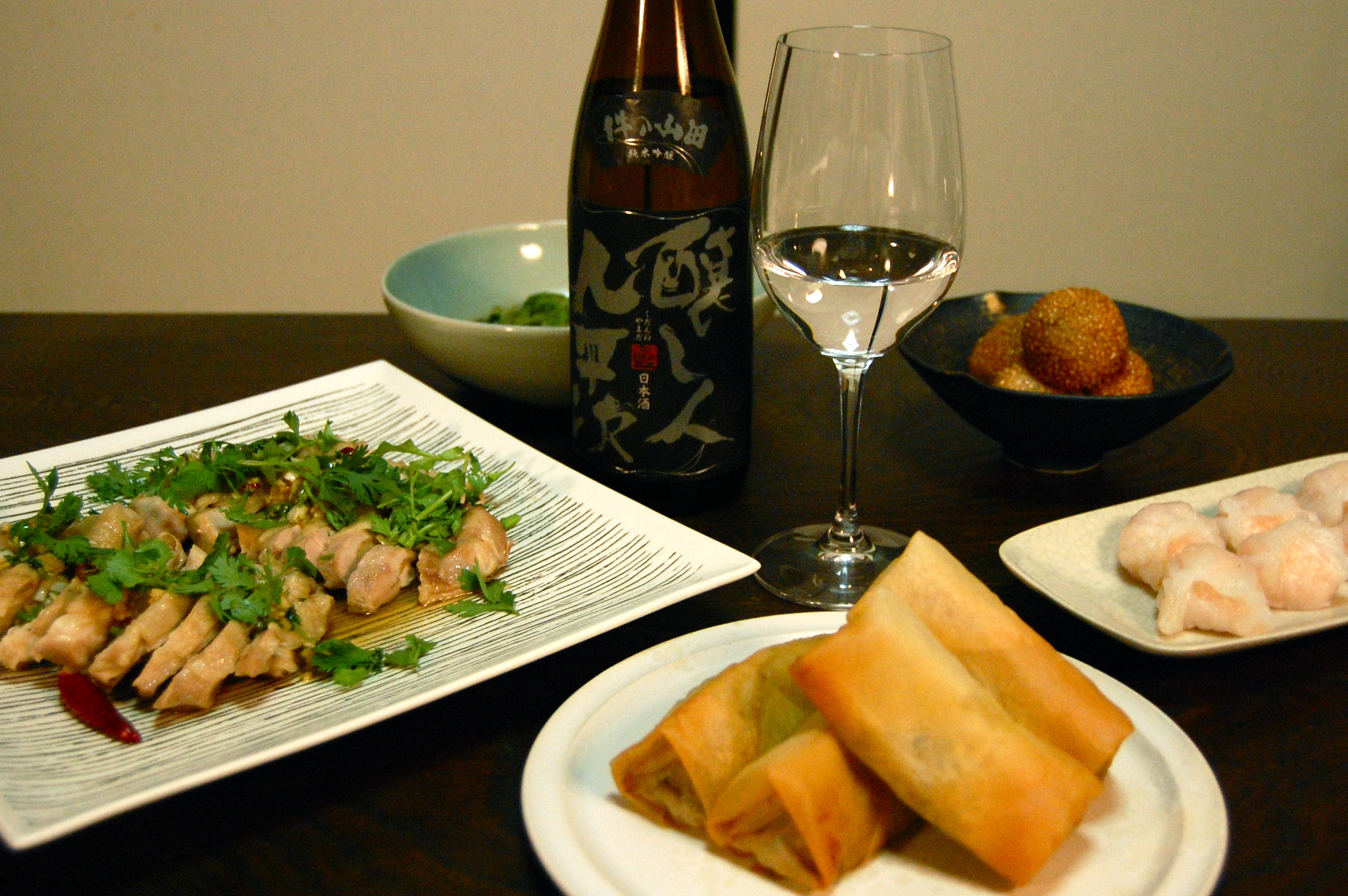 types of sake go great with Chinese food. This spread includes steamed ...