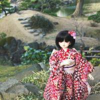 Kuroe the articulated doll dressed as befits beautiful Kyu Shiba Rikyu Teien. | KIT NAGAMURA