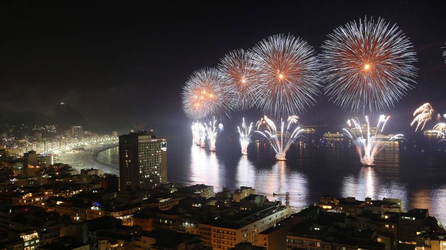 Fireworks light the sky over Copacabana beach during New Year's Eve celebrations in Rio de Janeiro on Wednesday.