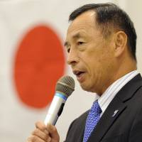 Campaigner: Toshio Tamogami, former Air Self-Defense Force chief of staff, delivers a speech Tuesday in Tokyo announcing he will run for governor. | AFP-JIJI