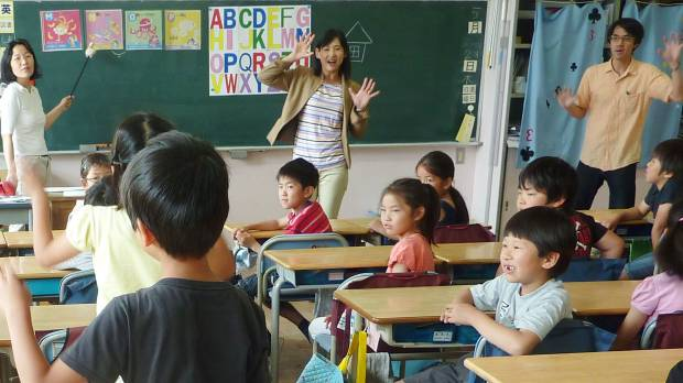 Easy as A-B-C: An English class is held for a third-grade class at an elementary school in Tokyo's Shinagawa Ward.