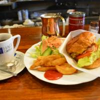 Oddball eats: The burger and coffee lunch set at eccentric cafe Hagi. | JJ O'DONOGHUE