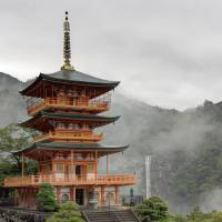 While the Seiganto-ji Temple pagoda stands like a work of art against its mountain backdrop riven by the waterfall. | ALON ADIKA