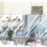 High security: A sketch shows Aum Shinrikyo ex-fugitive Makoto Hirata (left) attending his Tokyo District Court trial Tuesday as condemned cultist Tomomasa Nakagawa testifies behind a screen protected by bulletproof glass. | KYODO