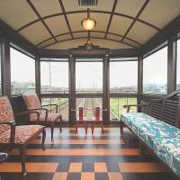 Varnish: The rear lounge car of JR Kyushu's planned Sweets Train offers comfort and a view. | KYODO