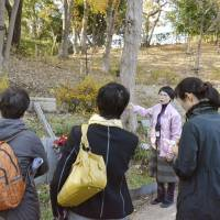 Options: An Ending Center official explains 'jumokuso' (burial under a tree), a form of natural burial, in a wooded area in a cemetery in Machida, Tokyo, last month.  | KYODO