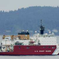 Three old boats: The U.S. Coast Guard icebreaker Healy leaves Seattle for a scientific mission in the Arctic in this file photo. | AP
