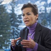 'Momentum growing': U.N. climate chief Christiana Figueres gives an interview at the World Economic Forum in Davos, Switzerland, on Wednesday. | AP