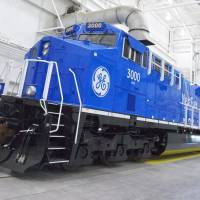 Old chassis, new fuel: This experimental natural gas locomotive in Erie, Pennsylvania, was made by General Electric. | AP