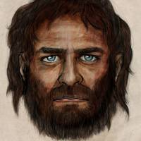 New look: This illustration shows what a blue-eyed male hunter-gatherer in Spain 7,000 years ago might have looked like. | SPANISH NATIONAL RESEARCH COUNCIL